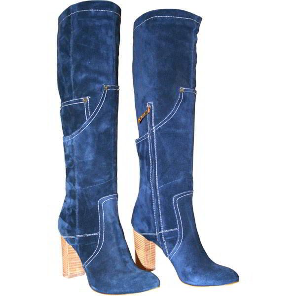С чем можно носить синие сапоги