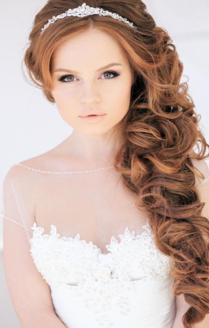 Прически на длинные волосы на свадьбу с фатой