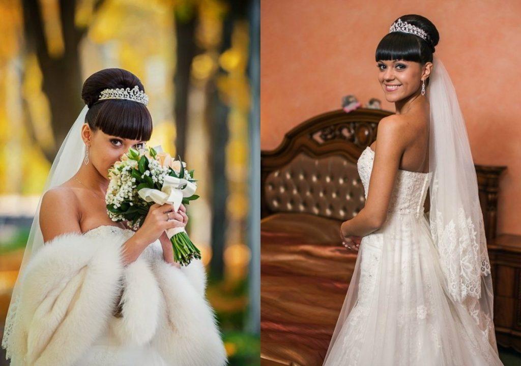 Модные свадебные прически с фатой