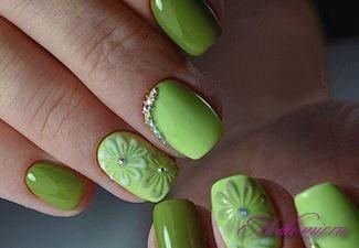 Гель лак зеленый дизайн