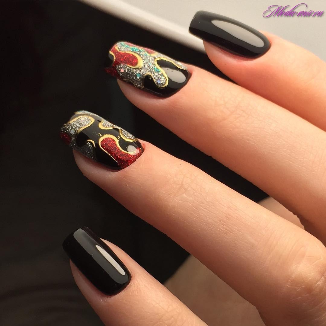 Ногти черные с золотом фото