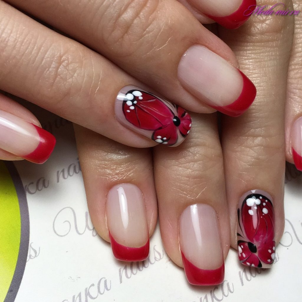 Красный френч на ногтях 2017 новинки весна