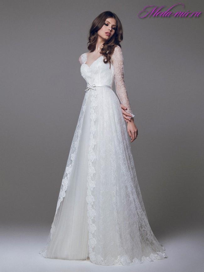 Фото свадебных платьев не пышных с рукавами