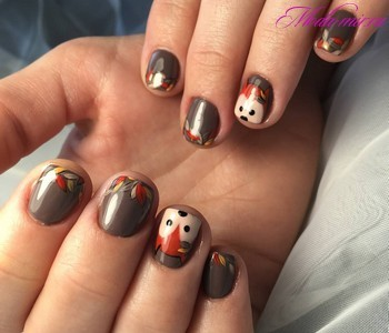 Осенний маникюр 2018 на короткие ногти