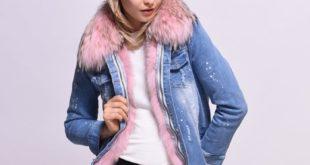 Теплая джинсовая куртка женская