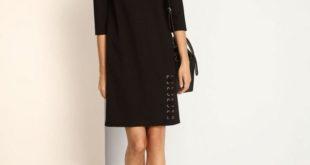 Прямое черное платье до колен